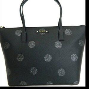 Kate Spade Black Sparkle Polka Dot Shoulder Bag